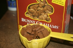 We used Annie's Bunny Grahams to make the crumb crust.  They smelled DELICIOUS (like coffee, actually...?).
