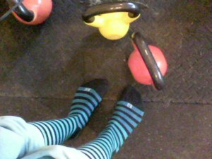 Stripey socks, meet kettlebells.  I love it.