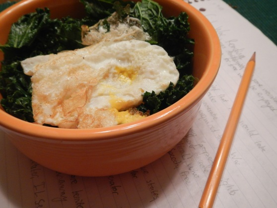 One of my favorite speedy dinners, especially on jam-packed study nights (that also happens to be loaded with omega-3's!!) is kale sauteed with a clove of garlic in extra virgin olive oil, topped with a fried egg, and usually with some sort of grain (quinoa, brown rice, etc.) thrown in.  I'm pretty sure I could eat this every day for the rest of my life--it's quick, EASY, comforting, nutritious, and delicious.