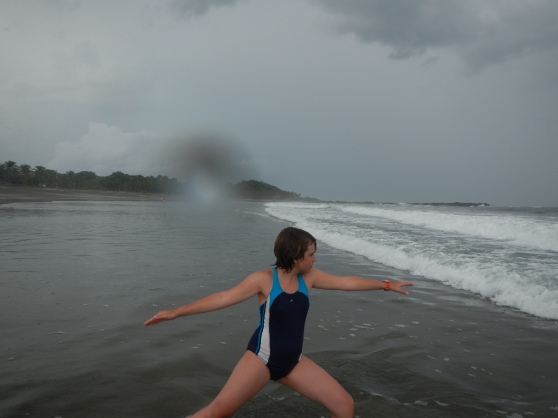 Attempting to do yoga in the surging sea.  (In a lightning storm.  I'm smart.)